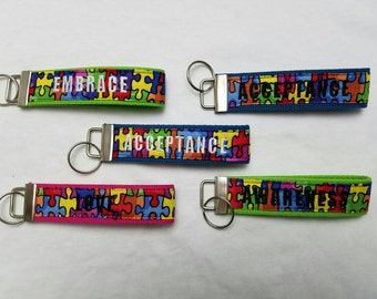 Autism Awareness Custom Embroidered Wristlet Keyring