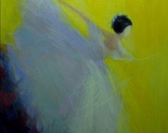 Ballerina art - Fine art print, Modern canvas print - Giclee print on canvas - Yellow wall art print