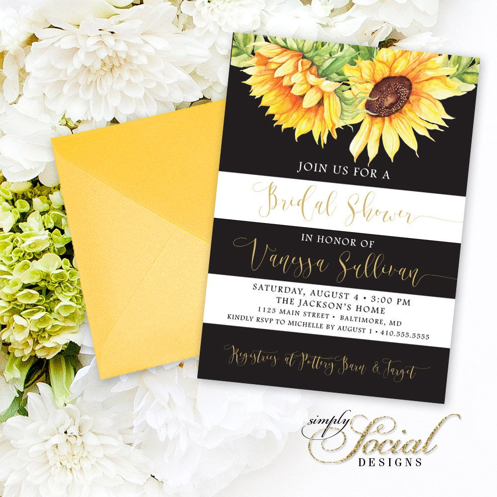 Sunflower Bridal Shower Invitation Watercolor Sunflowers and Black