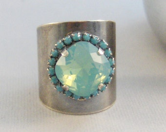Antique Aquamarine Ring,Aquamarine Ring,Aquamarine Jewlery,Aqua Ring,Birthstone Ring,Vintage Jewelry,Vintage in handmade,Blue Stone,