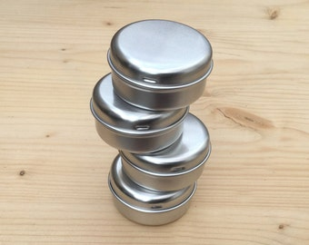 Round Metal Tins, Silver Color 15ml Tin Box, Lip Balm Box, DIY Container (A Set Of 6 Boxes)