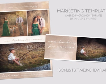 Photography Marketing Template Set Now Booking Mini Sessions FB Timeline Facebook Social Media Layered Photoshop Graphic Design for Business