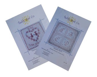 Cross stitch x 2, design embroidery, alphabetical embrodery