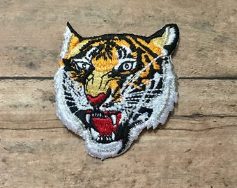 Embroiled Tiger Patch Applique (Large Iron On Sew On Applique Badge Vintage Tiger Applique Jacket Embellishment Animal Head Embroidery Gift)