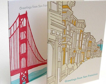 Greetings from San Francisco Letterpress note card set