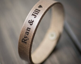 Customized Bracelet, Personalized Bracelet, Leather Bracelet, Custom Cuff Bracelet engraved, Gift for him- Driftwood