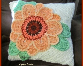 Pretty Crocheted Peach Flower Pillow Cover . ..