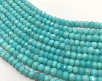 Peruvian Opal AAA Quality Micro Faceted Rondelle Beads, 4mm to 4.5mm, 13 inches, Blue Beads, Gemstone Beads, Semiprecious Beads