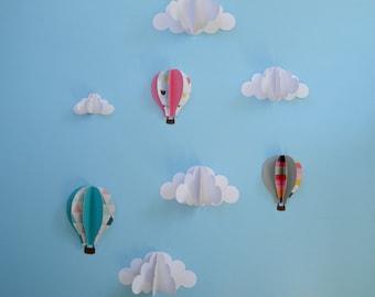 Set of 3D Wall Decals-3D Wall Art-Nursery Decor