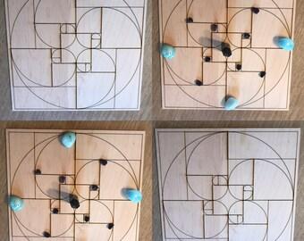 Golden Ratio Crystal Grid - Fibonacci Crystal Grid - 3, 6, 9 or 12 Inches - Wooden Crystal Grid - Sacred Geometry