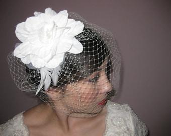 Birdcage Veil with handmade flower