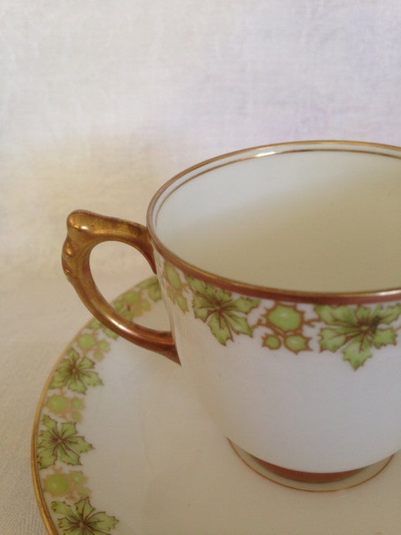 35 Piece J. Pouyat Limoge Green Floral Dessert Set Demitasse - Expresso Cups & Saucer with Plates