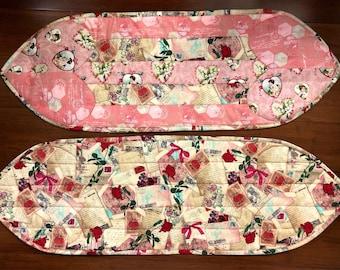 "Valentine's Day table runner / dresser scarf 12"" x 34"" or 12"" x 36 1/2"""