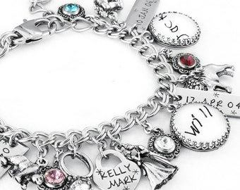 Childrens Birthstone Charm Bracelet, Mothers Jewelry, Childrens Names, Mothers Bracelet, Childrens Jewelry, Personalized Mothers Jewelry