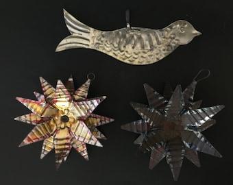 3 Vintage Tin Folk Art Ornaments