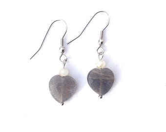 Earrings heart Moonstone gray
