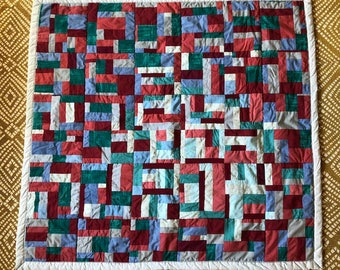 Quilt 42 x 40 in Red Blue Green patchwork