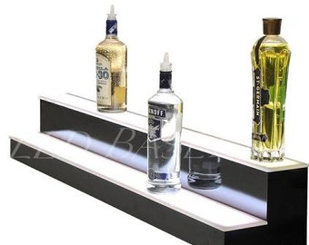 "48"" 2 Step Bar Shelf Led Lighted for Liquor Bottle display"