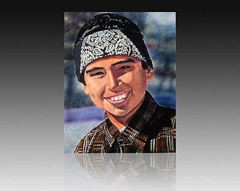"""Juanito.Giclee on canvas 20"""" by 24"""" embellished and signed by the original artist Adan Hernandez"""