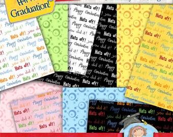 Digital Graduation Papers, Graduation patterns, Instant Download Graduation backgrounds for scrapbooks, cards,  tags, invites, announcements
