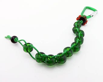 Green Golf Stroke Counter, Clip On Glass Bead Golf Abacus, Ten Bead Counter, Golf Shot Counter, Golf Accessory, Gift for Golf Partner