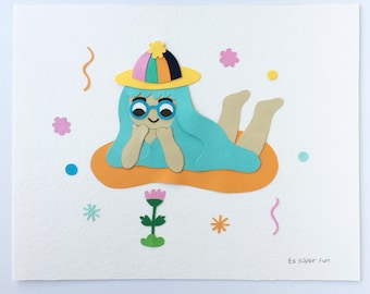 Original Framed Paper Art / Happy Spring