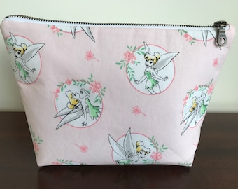 Medium Tinkerbell Wash Bag Make Up Cosmetics Toiletry Zipper Pouch Disney Pink Peter Pan Fairy Princess