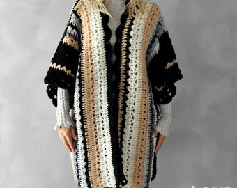 Boho Cardigan Hand Crochet Womens Cardigan Plus Size Sweater Long Cardigan Plus Size Cardigan Oversized Clothing Plus Size Holiday Kaftan