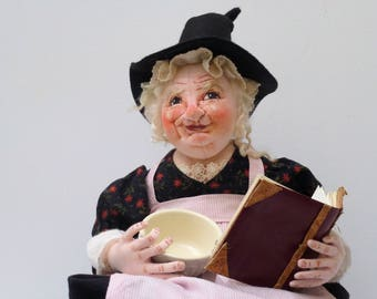 Fabric, soft sculpture, cooking, witch doll