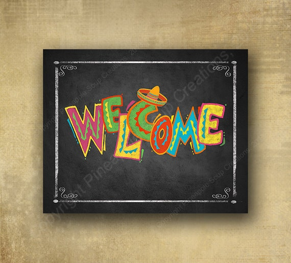 Fiesta Welcome sign Printed chalkboard style sign, Fiesta party signage, graduation sign, wedding sign, Grad sign, Fiesta birthday