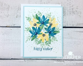 Easter Card, Floral Easter Card, Easter Bouquet Card, Yellow and Blue Easter Card