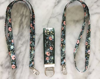 Rifle Paper Co Floral Hunter Green Lanyard- Floral Lanyard- Teacher lanyard