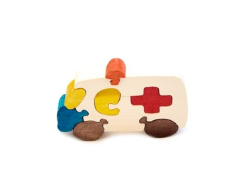 Puzzle Car Ambulance wooden toys, wooden eco-friendly handmade toys for babies, children, kids, boys and girls