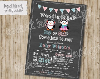Penguin Gender Reveal Party Baby Shower, pink, blue baby shower invitation, digital, printable, girl, boy, winter baby shower invite