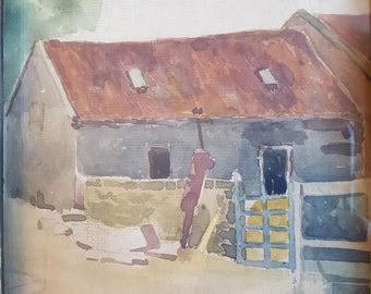 Vintage Watercolor Scottish Cottage Painting Original Art on Board 1920's