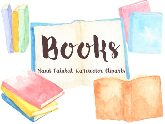 Books Party Watercolor Clipart Digital File Reading club