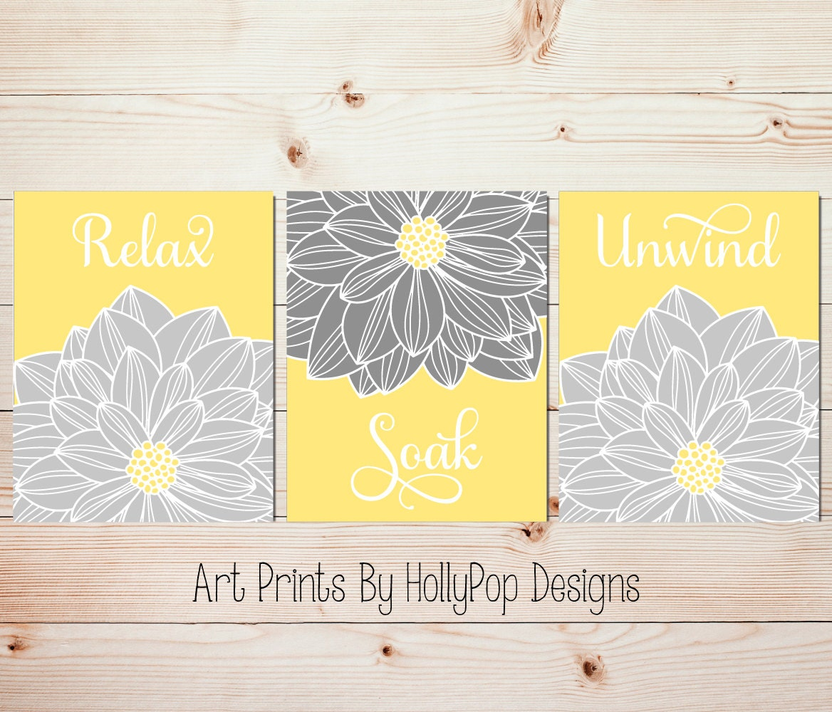 Yellow Gray Wall Art Bathroom Wall Art Relax Soak Unwind