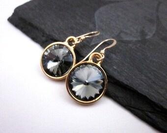 Black Diamond Earrings, Gold & Grey Earrings, Black Diamond Gift, Grey Swarovski Jewelry, Grey Crystal Earrings, Sparkling Grey Jewelry