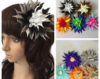 Multiple color Flower Clip, Brooch Pin,Fabric flower brooch and pin , black,brown,yellow,blue,pink, party flower,gift
