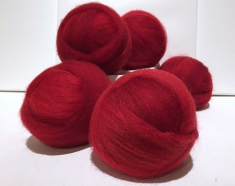 Red Wool Roving, Needle Felting Spinning Fiber, Christmas red, Valentine Red, bright red, Saori weaving, warm red