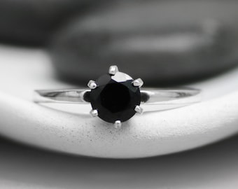 Black Spinel Solitaire Ring - Sterling Silver Classic Engagement Ring - Vintage-Style Black Gemstone Proposal Ring - Gothic Promise Ring