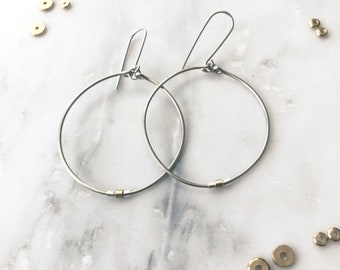Silver Hoops with Gold Tube Bead