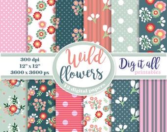 Mothers day digital paper pack Spring paper Digital scrapbook paper Floral digital paper Flower printable Vintage digital paper