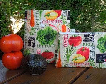Reusable sandwich bag - Reusable snack bag - Fabric sandwich bag -  Eco lunch bags - Zero waste lunch bags -Let's make salad