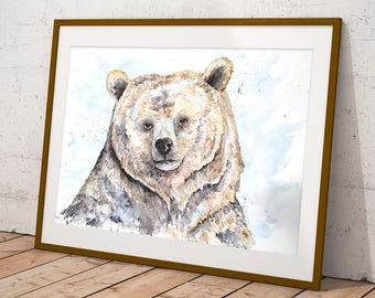 Grizzly Bear Watercolor
