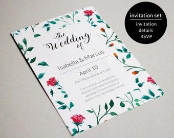 Wedding Invitation Set Template, Wedding Invitation Suite, Wedding Invitation Set Printable, Wedding Invitation Template, Wedding Download