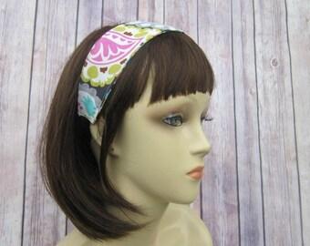 Reversible Headband - Headband for Women - Adult Headband - Womens Headband - Handmade Fabric Headband - Gray Paisley and Multidot