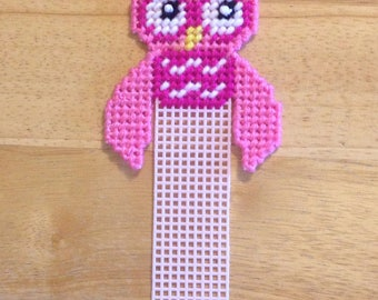 Easter Gift, Book Lover Gifts, Pretty N Pink Owl Bookmark, Pink Plastic Canvas, Owl Birthday Gift, Bookmark For Kids, Easter Gift