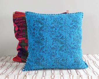 Vintage Bright Blue Floral Pillow Cover