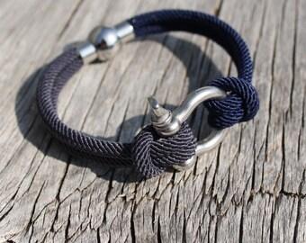 Nautical bracelet - Steel boat shackle - Montauk in Stainless steel - Waterproof